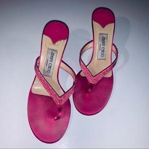 JIMMY CHOO Pink Satin High Heel Thongs - 7.5/37.5